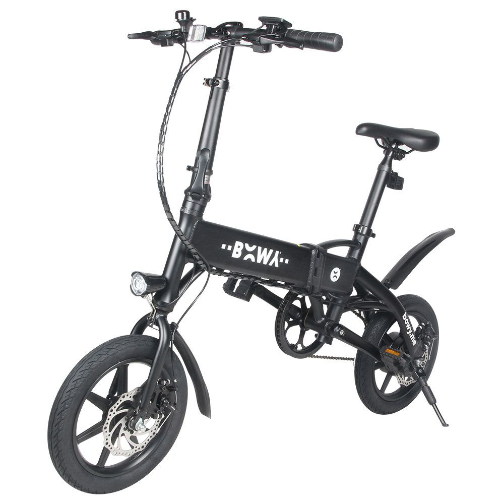 Megawheels Eb01 Portable Folding Electric Moped Bicycle 240w Motor 14 Inch Tire Bms Battery Manage System Black Electric Moped Bicycle Moped