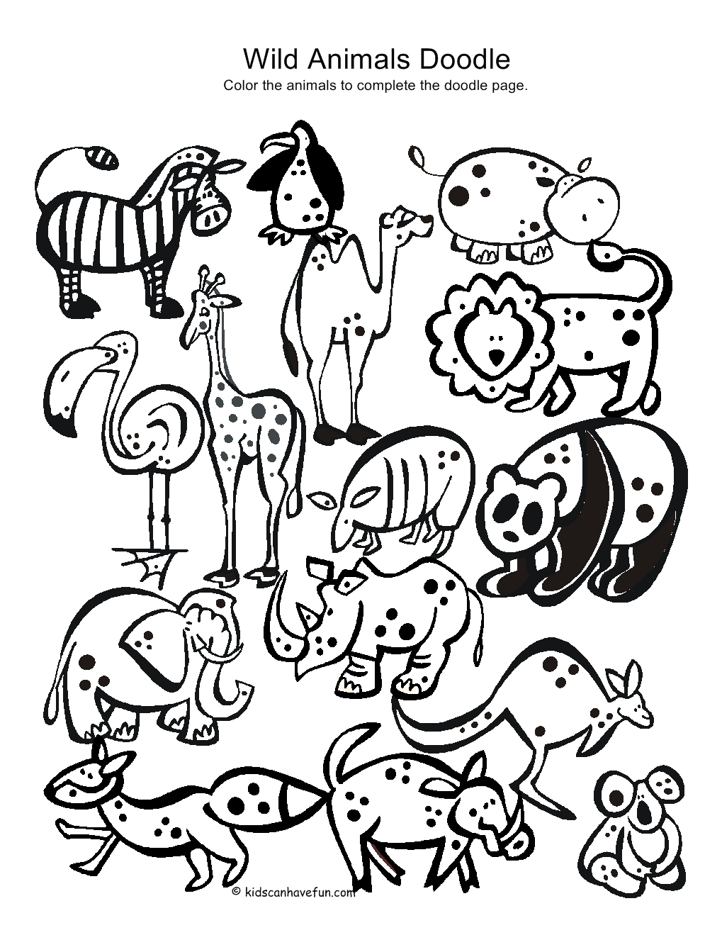 Wild Animals Doodle Print On Sticker Paper Kids Can Color It In Animal Doodles Animal Coloring Pages Drawing For Kids [ 1319 x 1019 Pixel ]