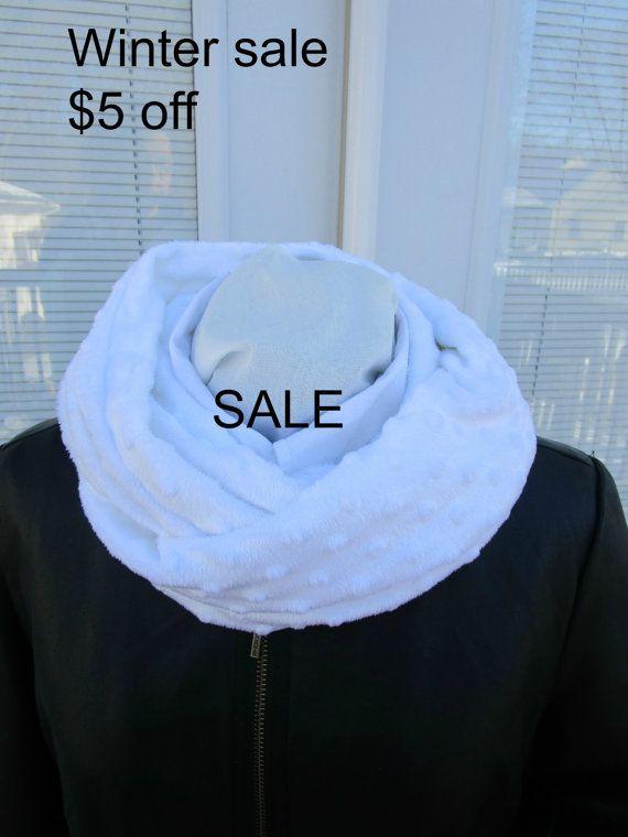 Warm winter White Minky infinity scarf by PrairieFlowerCreate