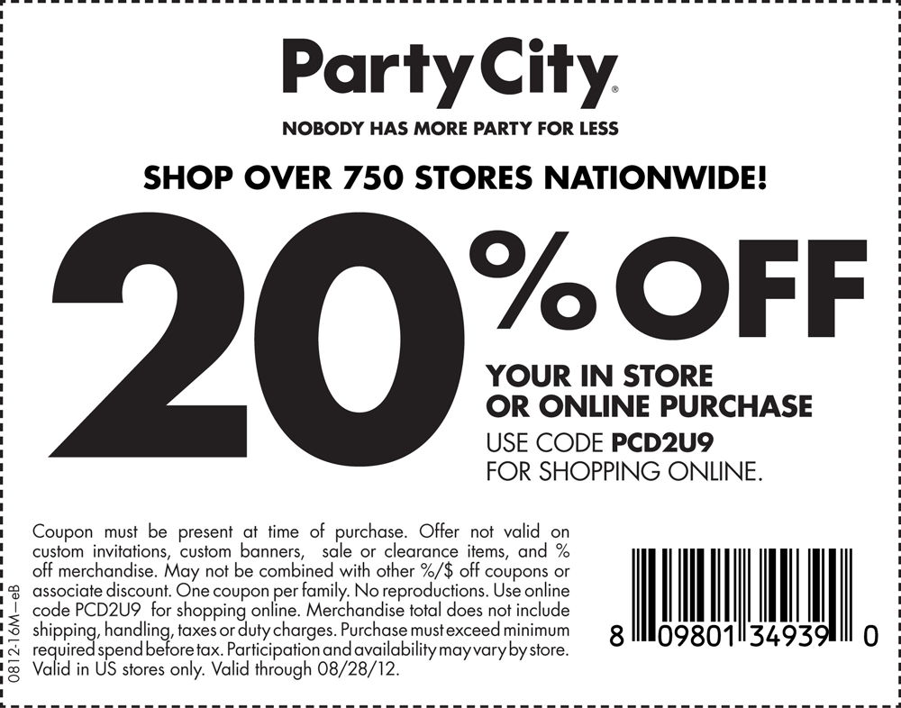 20 Off At Party City Or Online Via Checkout Promo Pcd2u9 Coupon Via The Coupons App Party City Printable Coupons Party Printables Free