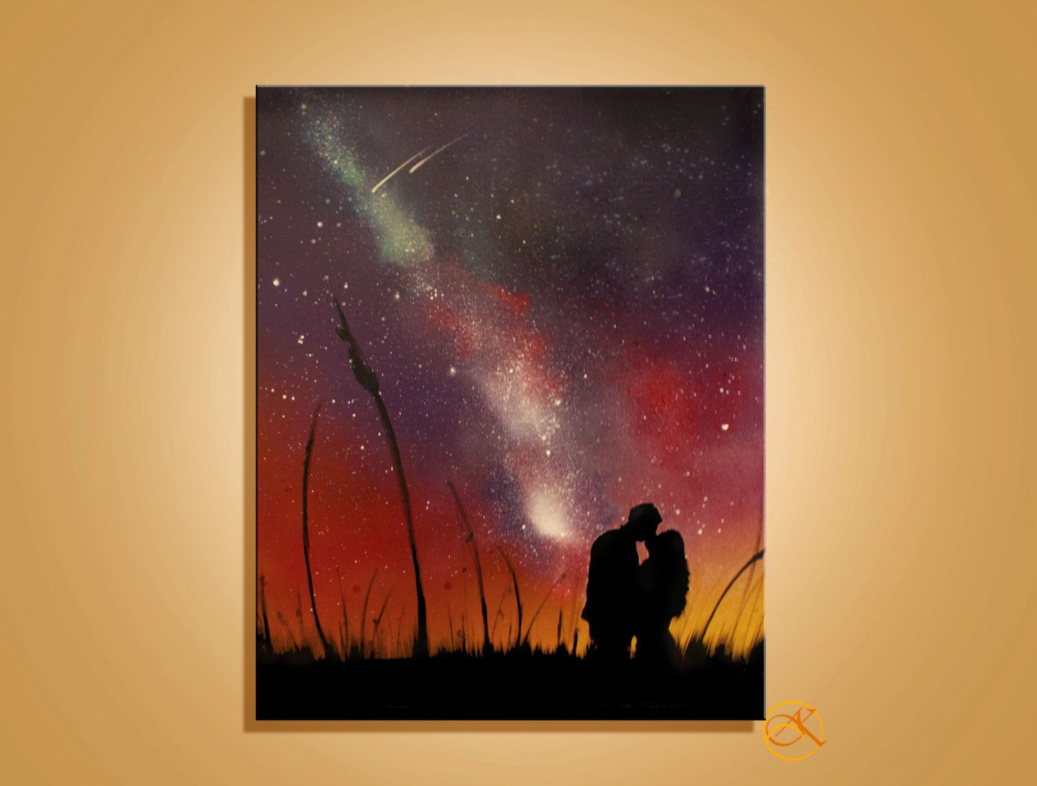 Wedding Gift Paintings: Space Art Couple Painting Couple Love Wall Art By