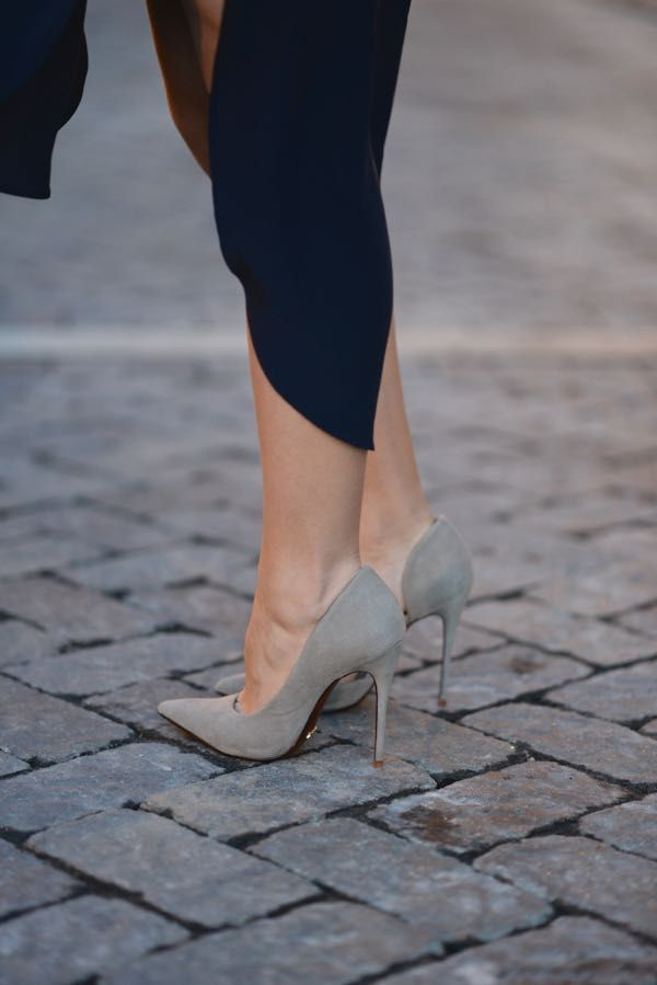 grey heels paired with navy dress