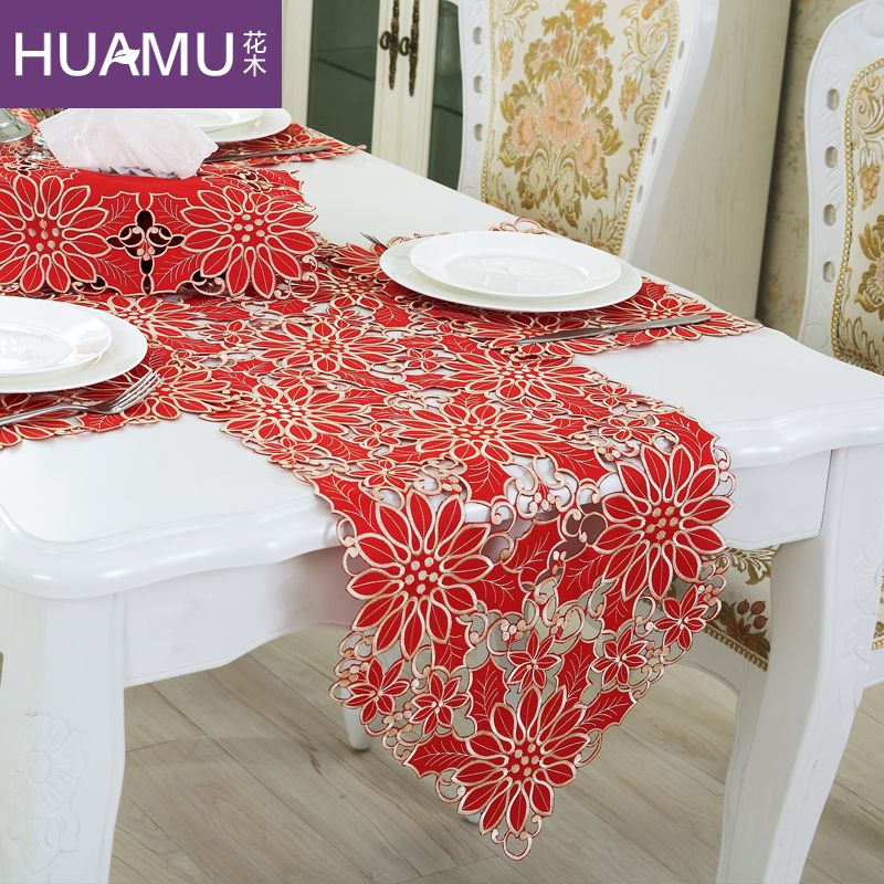 Table Runner Embroidery European Elegant Tablecloth Organza Fabric Embroidered Rustic Table Runners Wedding Decoration Cover In Table Runner Painting Artesanato