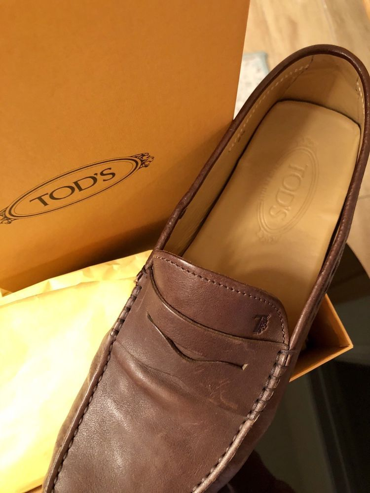 ac5b50cee11 Tods Mens Loafers Size 9 Brown Leather Round Toe Slip On  fashion  clothing