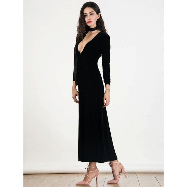 Choies Black Deep Plunge Long Sleeve Velvet Maxi Dress ($35 ...
