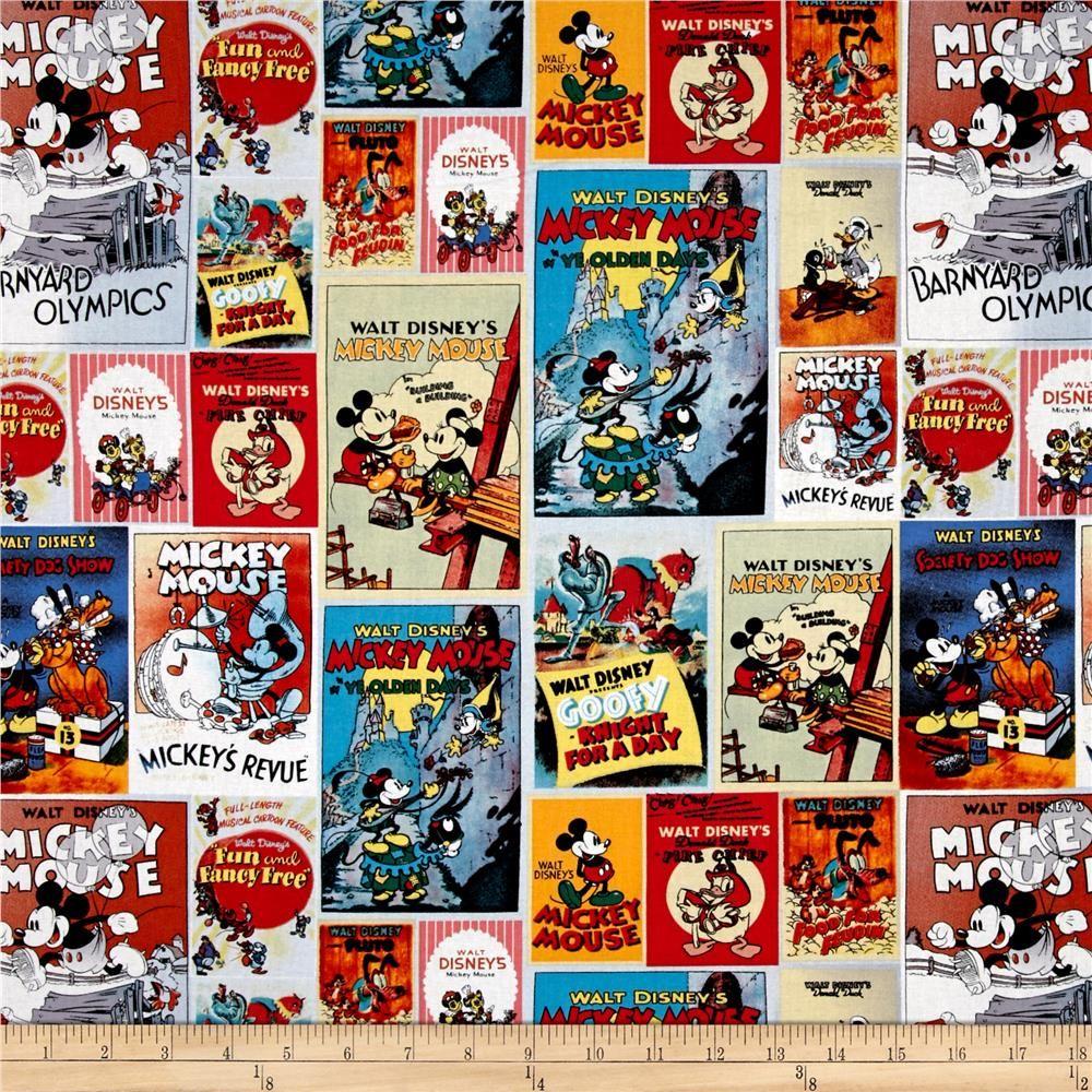 Disney Posters Mickey & Minnie Poster Multi from @fabricdotcom ... : disney quilting fabric - Adamdwight.com