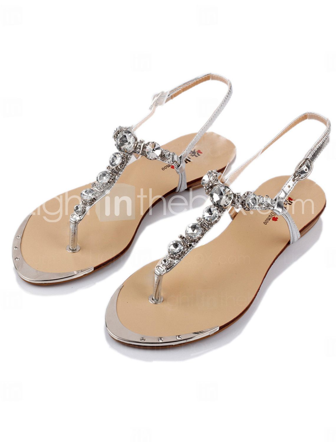 80138d068f309 Leatherette Flats   Sandals Honeymoon Shoes With Rhinestone (More ...