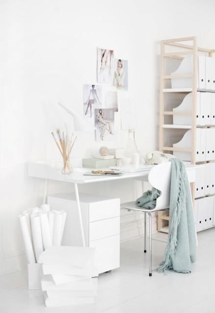All White Studio Office Home Office Design Home Office Decor Home
