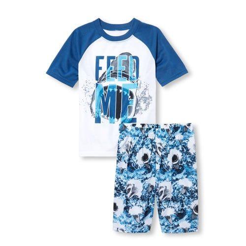 378a3b391 Boys Short Raglan Sleeve 'Feed Me' Shark Top And Print Shorts Pajamas
