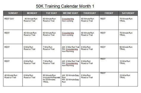50k Training Calendar Running Trail Running Running Training