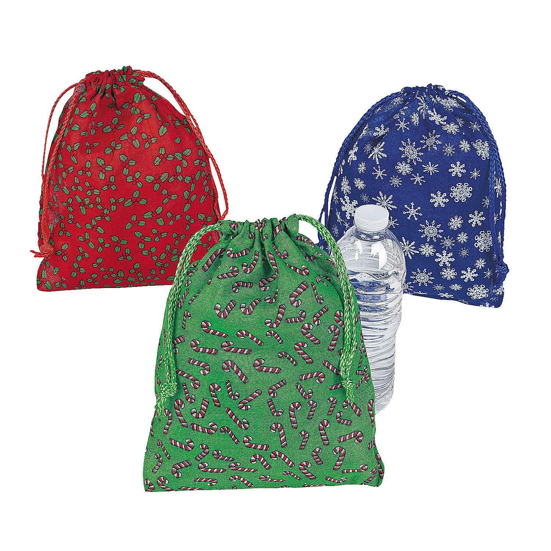 Holiday Print Drawstring Bags - OrientalTrading.com