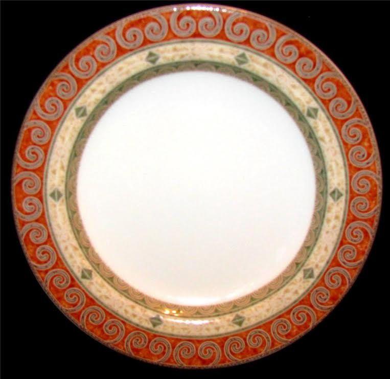 Epoch CAPE TOWN E818 Lot of 3 Bread/Saucer Plates Geometric Design Dinnerware Rust Green & Epoch CAPE TOWN E818 Lot of 3 Bread/Saucer Plates Geometric Design ...