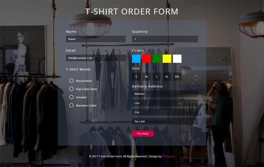 T-shirt #Order #Form #Flat #Responsive #Widget #websablon   - t shirt order form