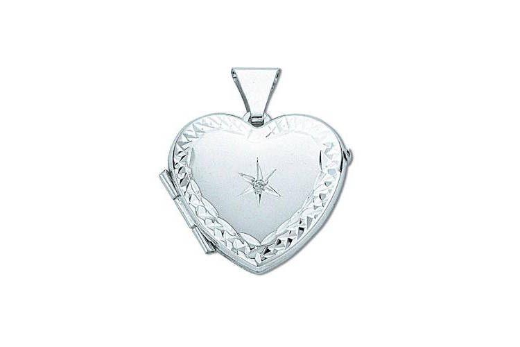 JQS - 9Carat White Gold Single Diamond Wave 2 Photo Heart Shaped Locket Hallmarked Ih50W5R