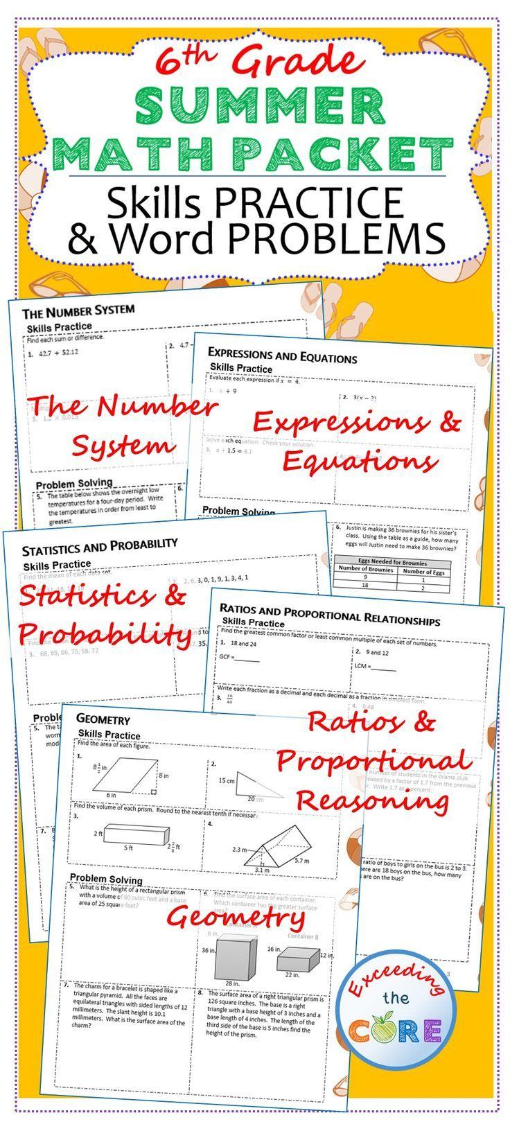 6th Grade Summer June July Math Packet Common Core Assessment Math Packets Summer Math Packet Middle School Math [ 1619 x 736 Pixel ]