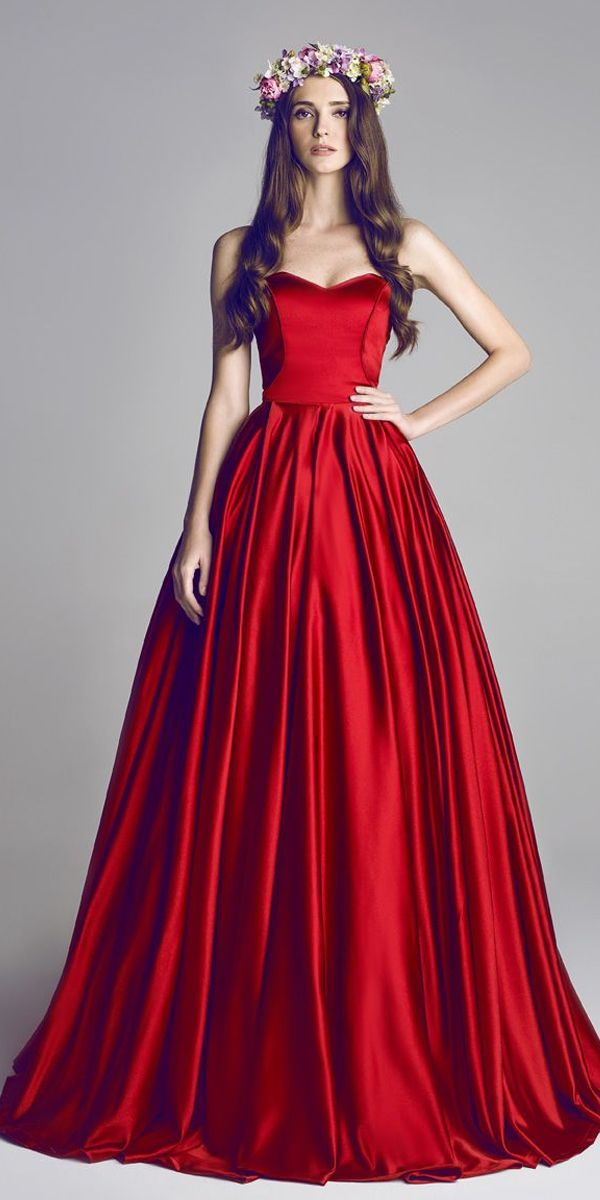 2f425f8aede Gorgeous Satin Sweetheart A-Line Prom Dresses With Pleats Red Wedding  Dresses