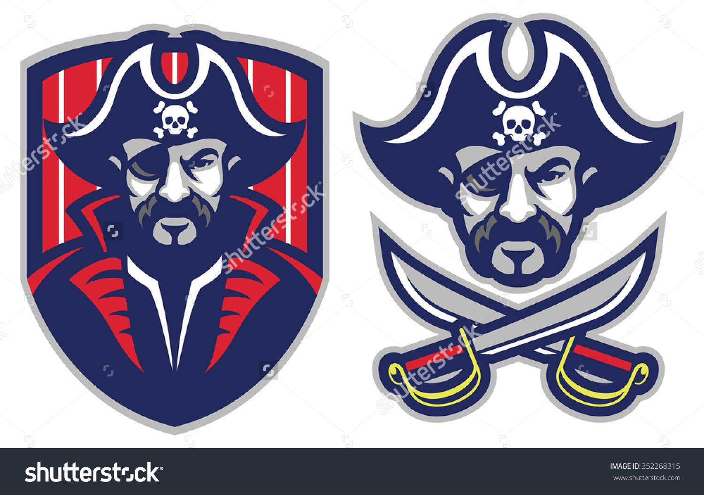 One Eye Pirate Mascot Stock Vector Illustration 352268315 Shutterstock Sports Logo Inspiration Mascot Sports Team Logos