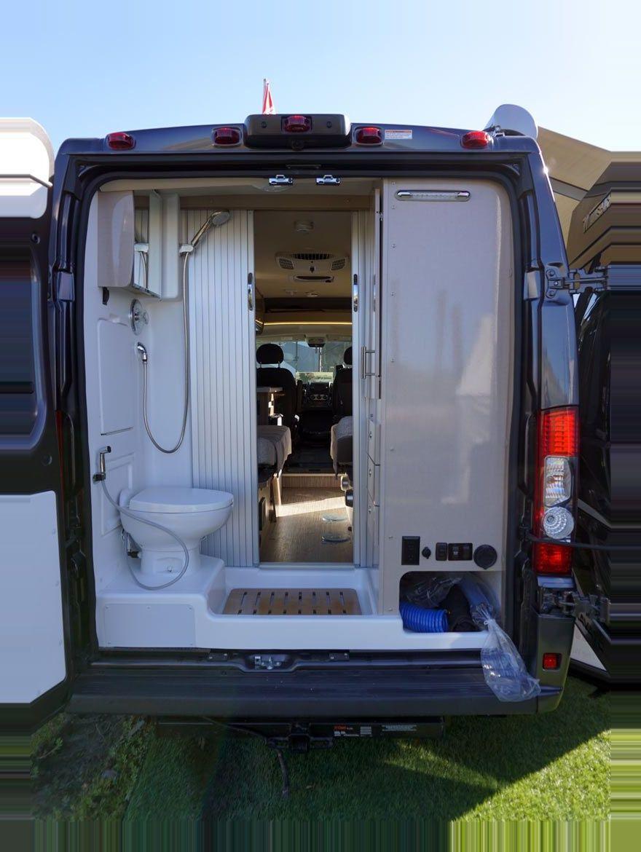 Camper Conversion Diy Bathroom Dodge Promaster Ram Travato Van Winnebago 2019 Winnebago Trav In 2020 Camper Van Shower Camper Conversion Motorhome Conversions