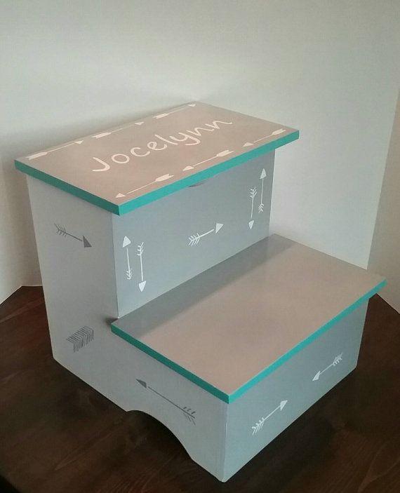 Arrow Stepstool   Turquoise , White And Grey Stool   Personalized    Stepstool   Bathroom Stool   Bedroom Stool   Storage   Arrow Decor