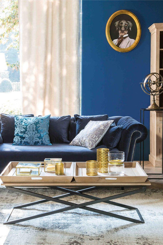 Room CARMEN Midnight Blue Velvet Sofa