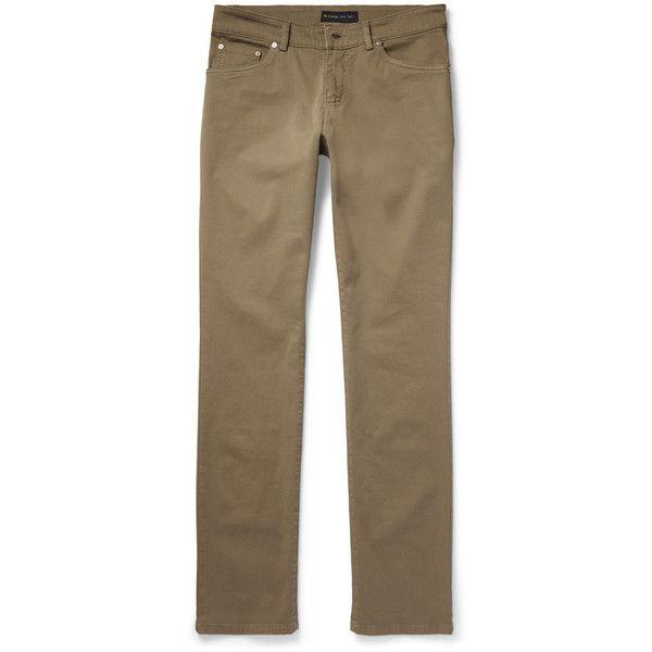 Etro Slim-Fit Stretch Cotton-Twill Trousers (39.845 RUB) via Polyvore featuring men's fashion, men's clothing, men's pants, men's casual pants и green