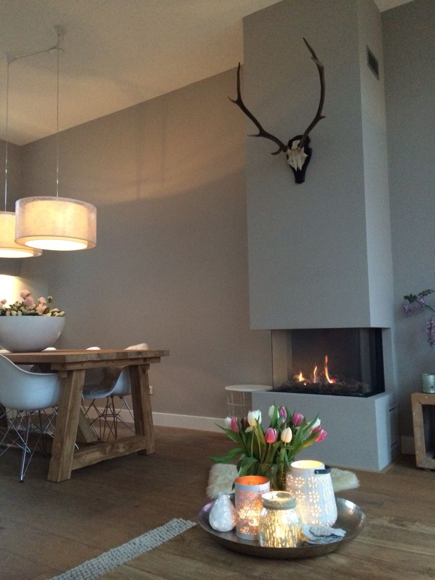 Kleur op de muur en gewei thuis pinterest haard openhaard en muur - Keuken muur kleur idee ...