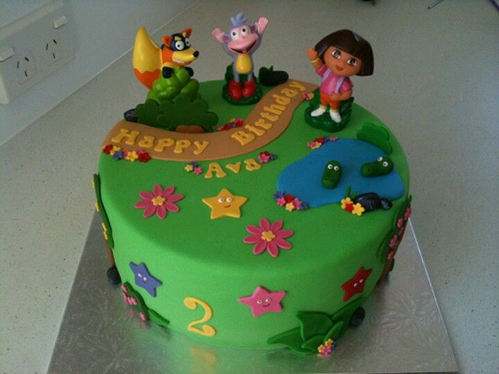 Dora The Explorer Birthday Cake With Images Dora Birthday Cake