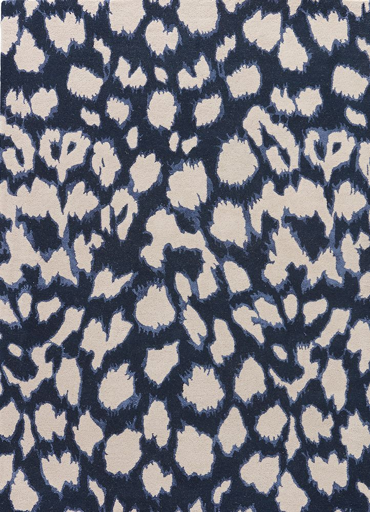 Wool And Viscose Material Carpet In Blue Color Handmade Area Rugs Navy Rug Rug Pattern