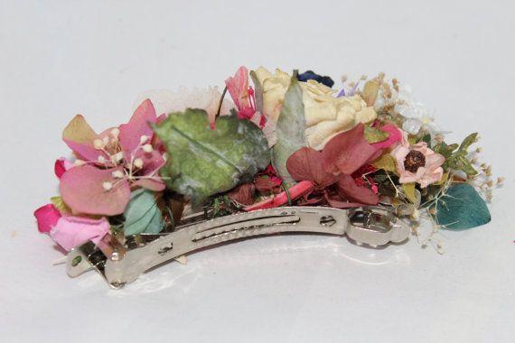 Complementos de mujer Tocados flores en 3 colores en un clip Cabello & Broche Pin Ropa, calzado y complementos