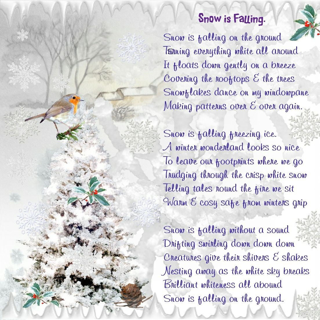 Christmas snow poetry really enjoyed doing also my