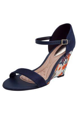fcd57e178 Sandália Beira Rio Floral Azul Marinho | Shoes in 2019 | Sapatos ...