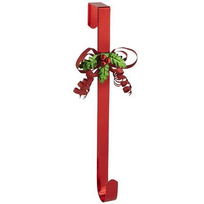 Red Bow Wreath Hanger Christmas Wreaths With Lights Wreath Hanger