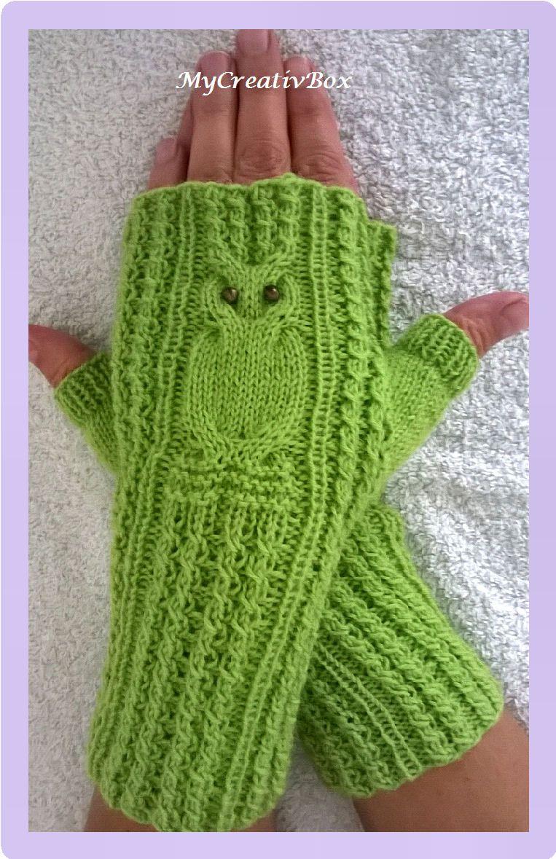 Handstulpen/Pulswärmer Eulentanz für Erwachsene gestrickt #glovesmadefromsocks