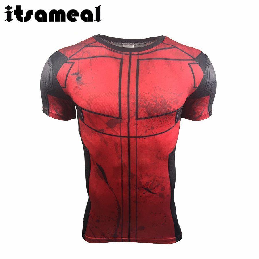 T Shirt Deadpool Kostüm Display Tee 3D gedruckte T-Shirts Herren Fitness Gym Bekleidung Herren Top