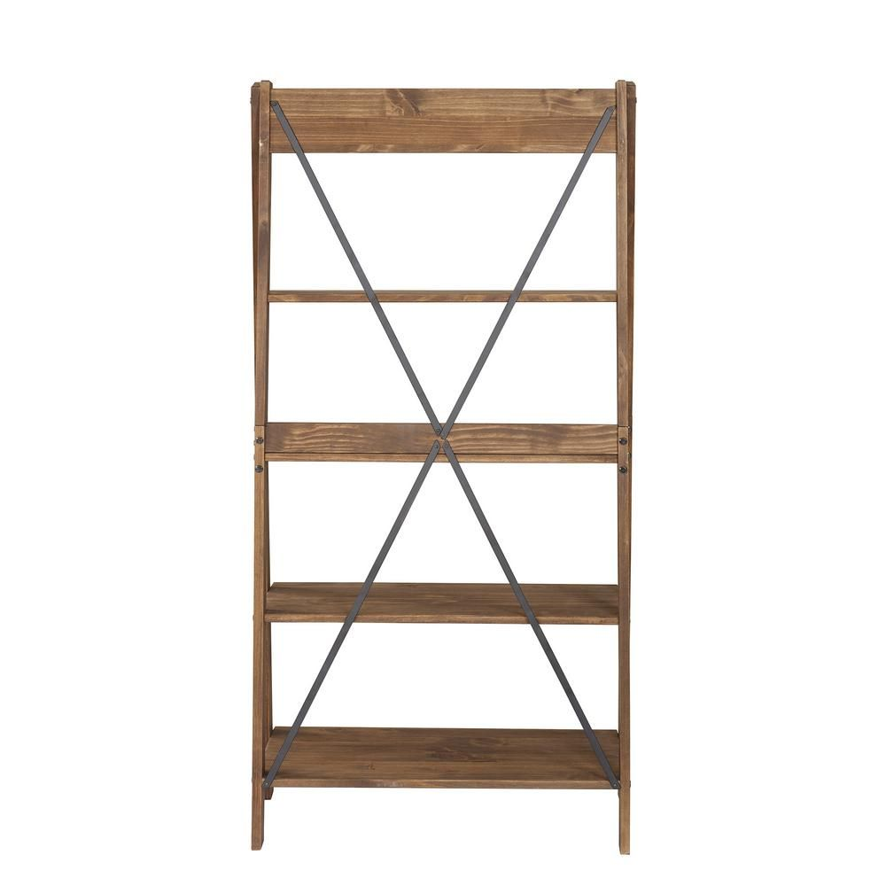 Welwick Designs 68 In Brown Wood 4 Shelf Ladder Bookcase With Open Back Hd8224 In 2020 Ladder Bookshelf Solid Wood Shelves