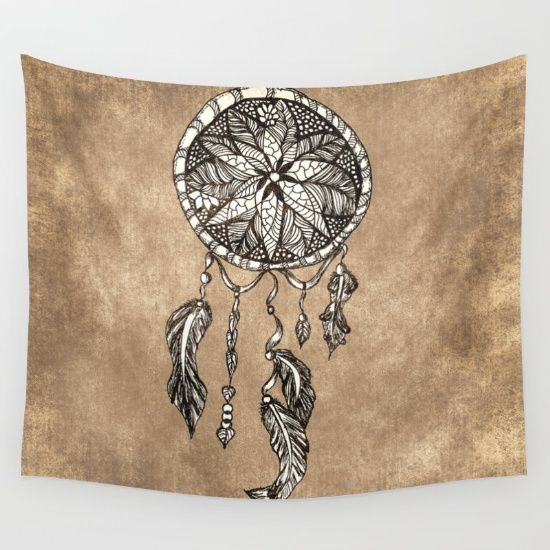 Hipster Dreamcatcher Feathers Vintage Paper Wall Tapestry With
