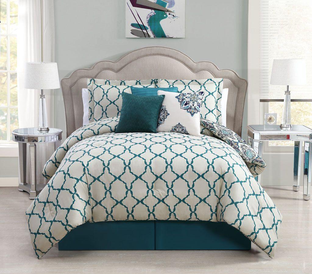 7 Piece Queen Vidara Teal Gray Reversible Comforter Set Emily Pinterest Bags Beds And Bed