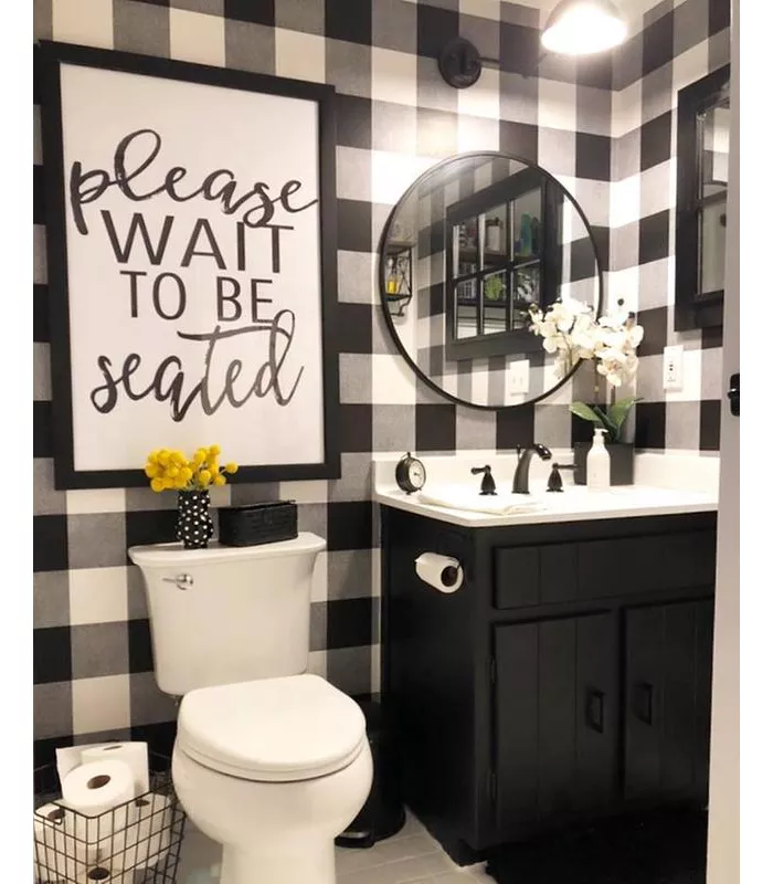 Buffalo Plaid Peel Stick Wallpaper Black Threshold Black White Bathrooms Small Bathroom Decor White Bathroom Decor