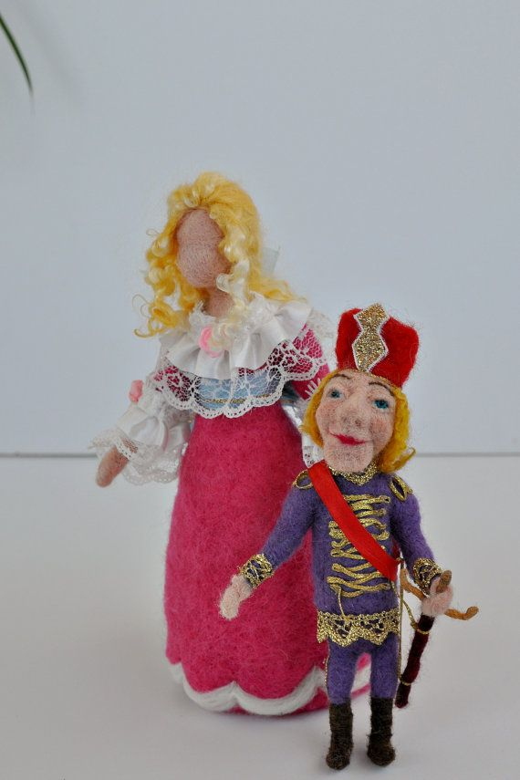 Needle Felted  Nutcracker and Clara. Art dolls.  Reserved for  Sarah on Etsy, $159.35 CAD