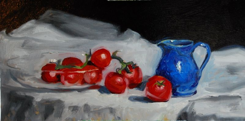 Tomatoes & Blue jug 45cm x 55cm approxOil on canvas £650contact about availability