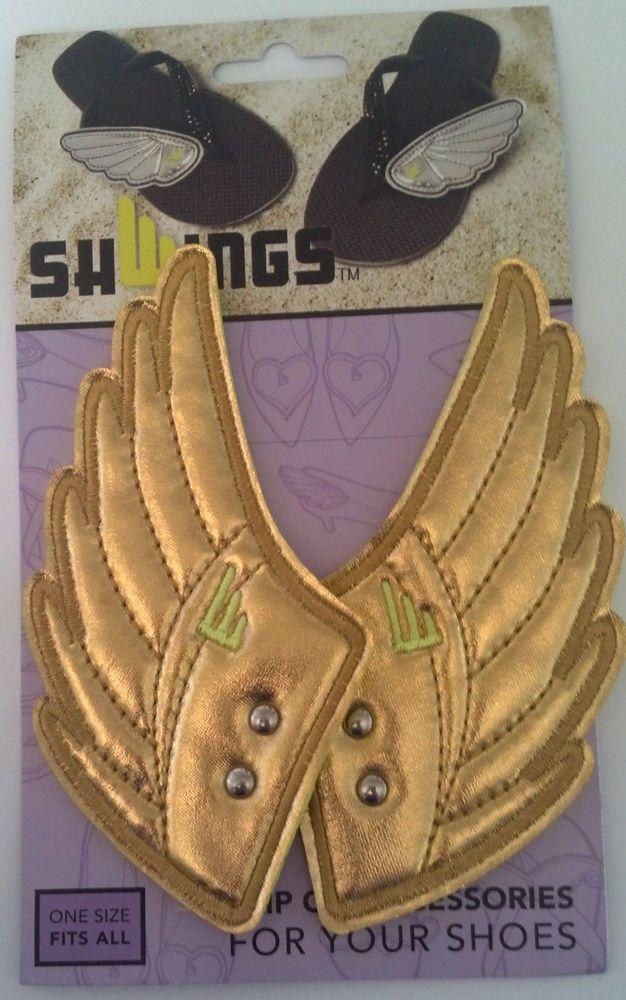 Shwings Gold Foil Clip On Wings For Shoes Designer Shwings