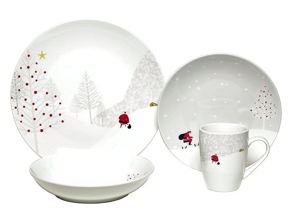 16 Piece Dinnerware Set Santa Comes Home Service For 4 Christmas Service Sets Melange Christmas Dinnerware Christmas Dinnerware Sets Christmas Tableware