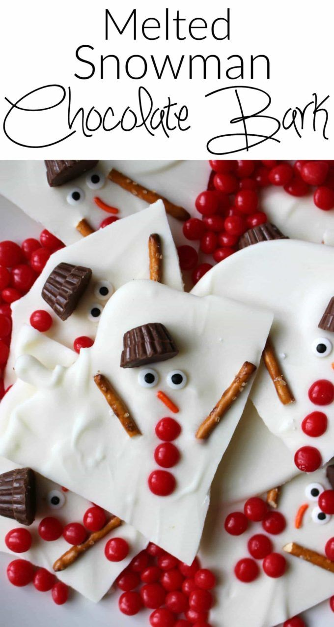 Melted snowman chocolate bark - a super easy holiday dessert. Chocolate candy melts, Reese's Peanut Butter Cups, Red Hots and a few other easy ingredients is all you need! A great option for Christmas cookie swap parties or a perfect holiday gift!