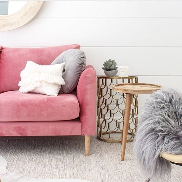 Sunday sneak peak by @threebirdsrenovations latest renovation living space reveal featuring our Australian made Charlie sofa in mystere fabric, Scallop side table in brass, timber side table & homewares by @ozdesignfurniture. Stay tuned for this living room reveal ! #ozdesignfurniture #livingspace #threebirdsrenovations #styling #design #renovation #velvet #blush #living #home #homedecor #interiordesign #roomreveal #furniture #L4L #instafollow