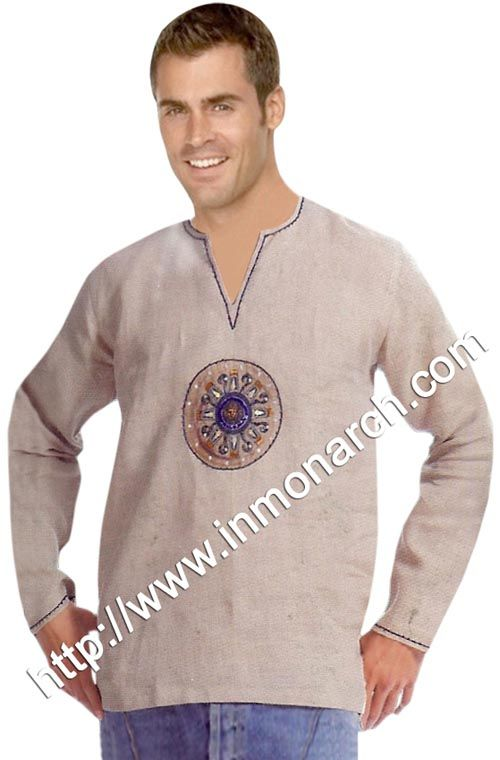 Unique V neck short kurtas for men made in pure Linen fabric.