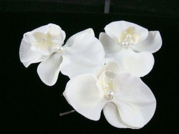 White Orchid Flower Bridal Hair Pin Bridal Hair Flowers Bridal Hair Pins Flower Hair Pin