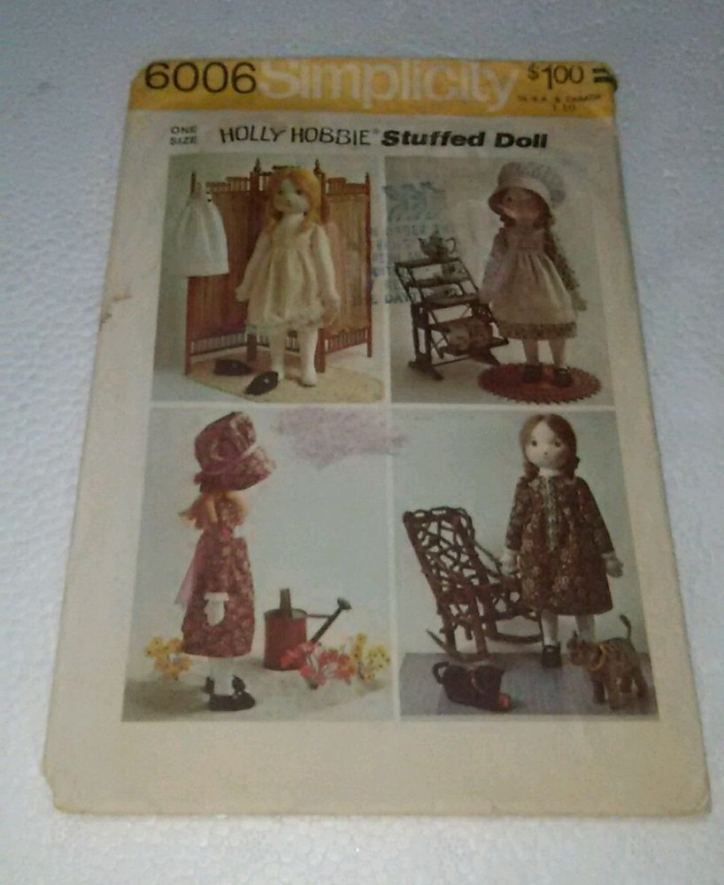 1973 Simplicity 6006 Holly Hobbie Stuffed Rag Doll Sewing Pattern/Clothes UNCUT