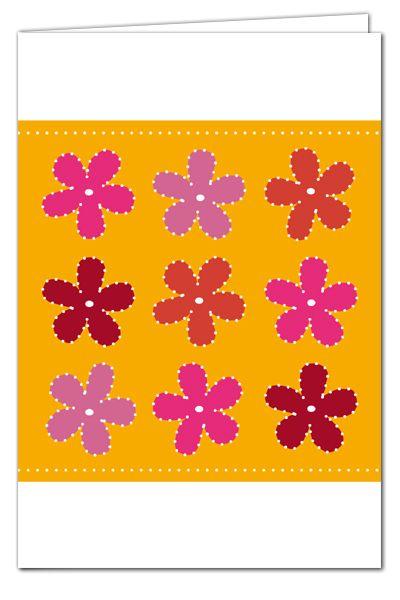 Grußkarte zum Prickeln - Blumen Orange/Pink - mit farbigem Umschlag