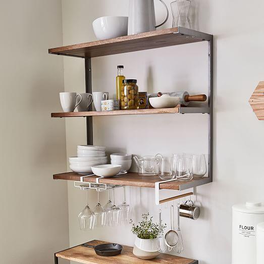 tier industrial wood metal wall shelf