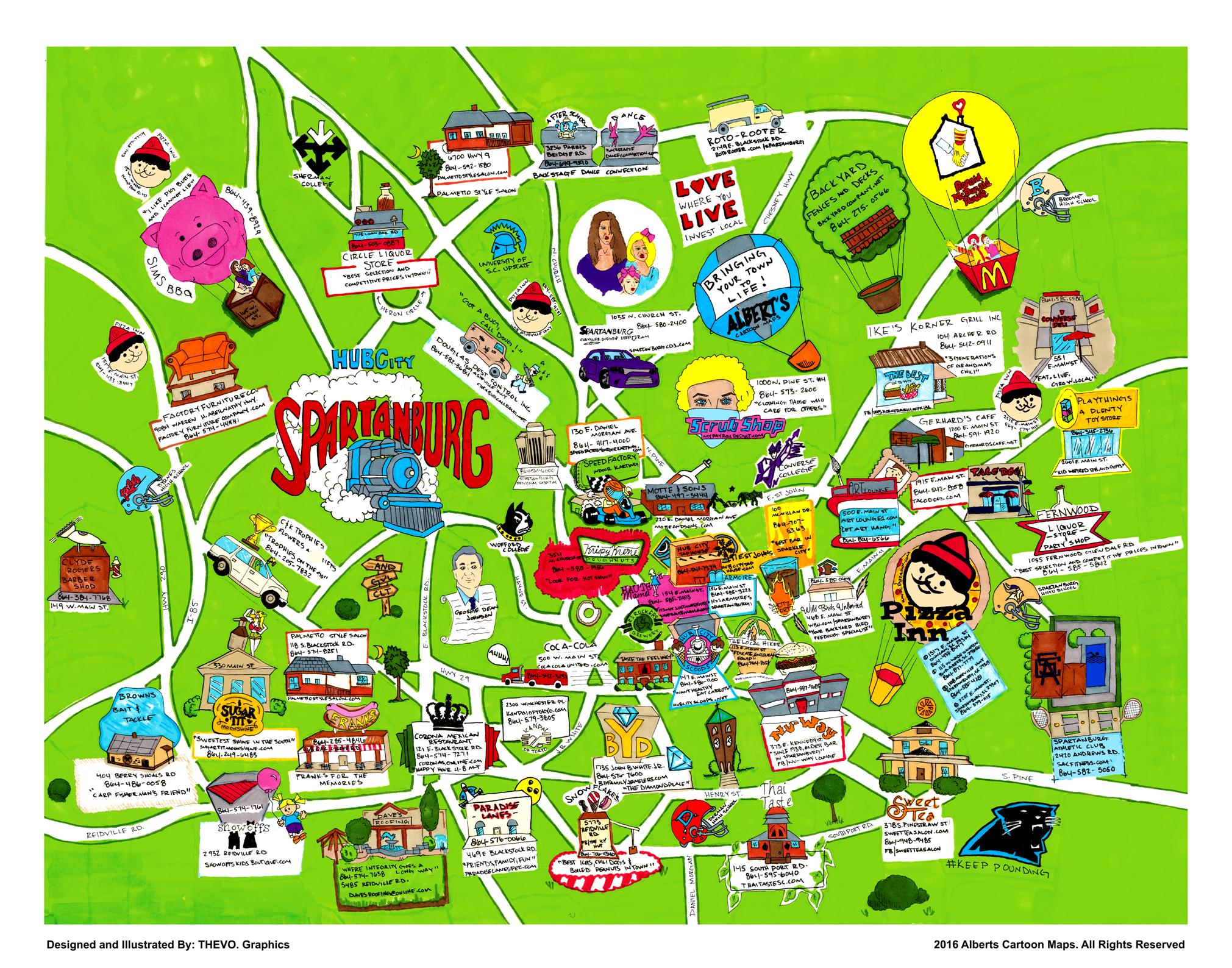 Spartanburg Map Albert S Cartoon Maps Usa Cartoon Map Map